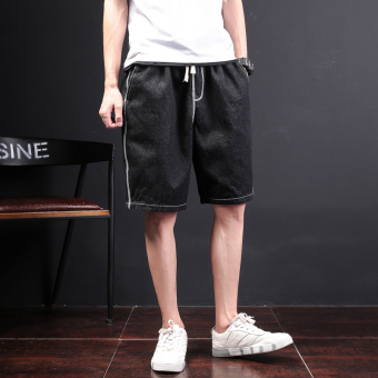 Stylish men's Plus-sized shorts washed cowboy shorts (Black)