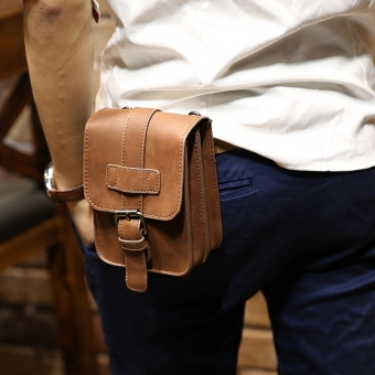 Stylish men's wear leather belt running bag mobile phone bag