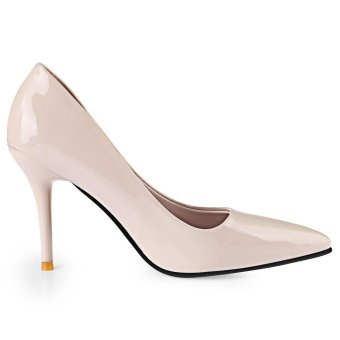 Stylish Pointed Toe Ladies Thin High Heel Shoes(Off-White)(Size:39)- intl - 3