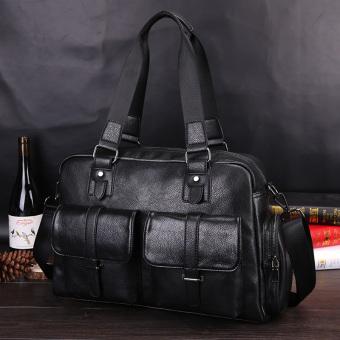 Stylish Street business men Cross file bag briefcase handbag (Black)