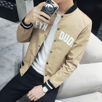 Stylish youth autumn thin casual Top men's jacket (Yellowish brown color) (Yellowish brown color)