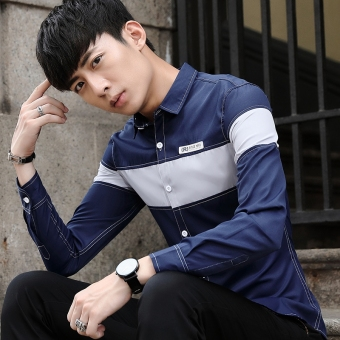 Stylish youth men's Slim fit casual shirt long-sleeved shirt (661 sapphire blue)
