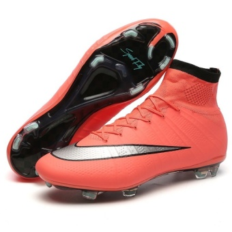 SuFei Superfly Soccer Shoes FG High Ankle Football BootsOutdoorTraining Soccer Cleats Orange