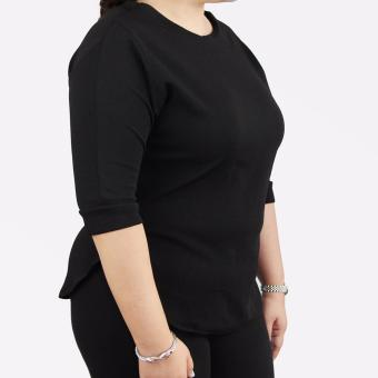 Sugar & Lime Cybele Women's Casual Fashion 3/4 Sleeves Blouse Top Plus Size (Black) - 2