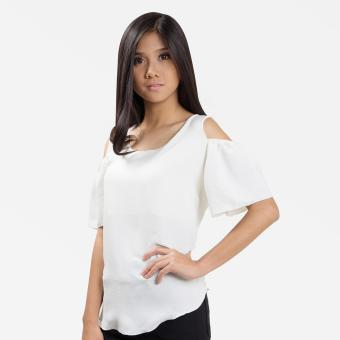 Sugar & Lime Demeter Women's Casual Fashion Georgette Loose Off Shoulder Blouse Top (White)