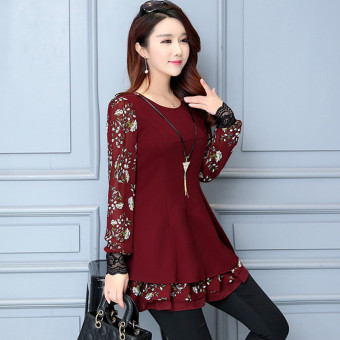 Suihua Korean-style lace long-sleeved mid-length Top chiffon shirt (Wine red color)