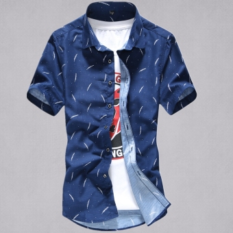 Suihua Korean-style men's summer Slim fit casual plaid shirt short sleeved shirt (Short sleeved--dark blue big feather)