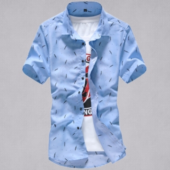 Suihua Korean-style men's summer Slim fit casual plaid shirt short sleeved shirt (Short sleeved--sky blue big feather version1)