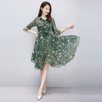 Suihua Korean-style New style high-waisted chiffon dress