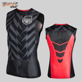 Summer basketball training breathable slim fit vest sleeveless I T-shirt (Black Skull head)