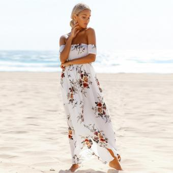 Summer Boho Women Maxi Dress Slash Neck Strapless Floral Print Cut Out Pink/White - intl - 2