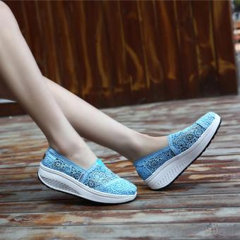 Summer Breathable Lace Casual Wedge Shoes Fashion High QualityPlatform Women Shoes (Light Blue) - intl - 3