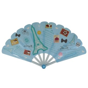 Summer Collection Foldable Hand Fan-Vintage (blue)