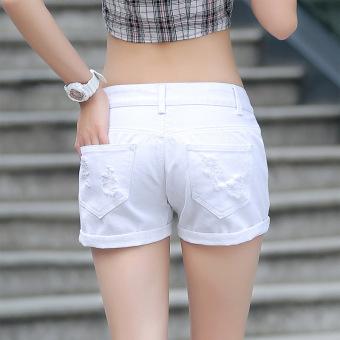 Summer Denim Shorts Female Korean Slim Ladies White Lipped Denim Shorts (white) - 2