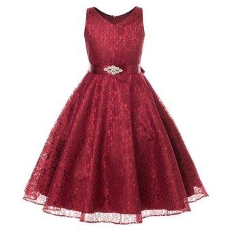 Summer Flower Girl Dress Top Baby Princess Dresses for Girls Wedding Party Vestidos Infantis Kid Girls Clothes - intl - 4