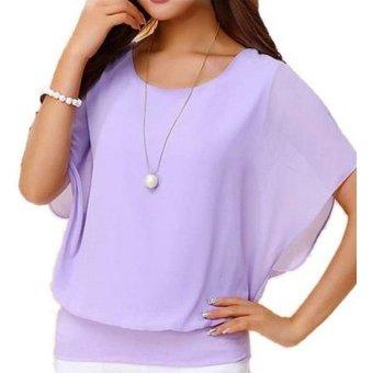 Summer Loose Casual Batwing Sleeve Chiffon Top (Violet) - 4