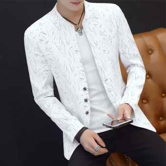 Summer men's men length sleeves Top Slim fit suit (661 white) (661 white)