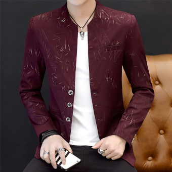 Summer men's men length sleeves Top Slim fit suit (661 wine red color) (661 wine red color)