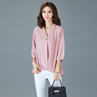 Summer Popular Fashion Plus Size Chiffon Shirt - Pink - intl