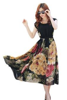 Summer Short Sleeve Chiffon Maxi Dress (Black)