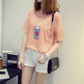 Summer short sleeve striped women printed t-shirt - intl - 3