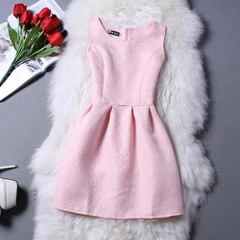 Summer Style New Women Dress Vintage Vest Slim Casual Party Dresses Pink