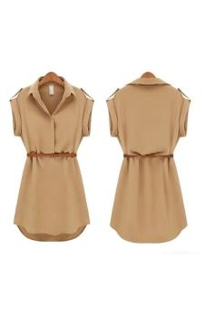 Summer Turn-down Collar Short Sleeves Women's Loose Chiffon Dress - Size XL Khaki