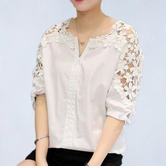 Summer Women Lace Blouses 2017 Fashion Woman Lace Shirt Hollow Out Casual Short Sleeve Women Shirts Tops (white) - intl