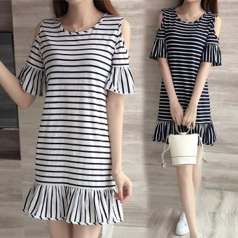 Summer women off shoulder stripe mini dress - intl