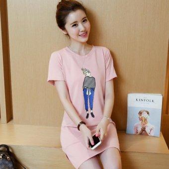 Summer women print casual short sleeve mini dress - intl - 2