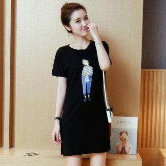 Summer women print casual short sleeve mini dress - intl - 4