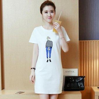 Summer women print casual short sleeve mini dress - intl - 3