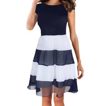 Summer Women Striped Chiffon Pleated Dresses
