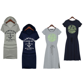 Summer Women's Fashion Casual Print Cotton Loose Dresses - picture 3
