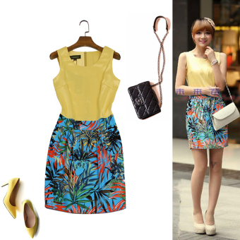 Summer yellow vest fake two tropical rainforest printed dress for women