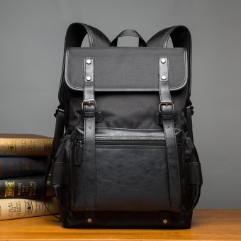 Sunking British Leather Laptop Bags Student Leisure Men's BackpackTravel Bag Men Back Pack Sports Bag (Black) - intl