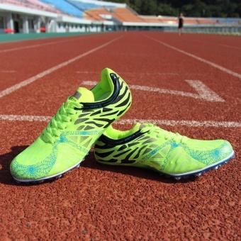 Sunshine Track Sports Running Shoes Spike Spikes Athletics Training Shoes Lelaki Berjalan Kasut - Green - intl - 2