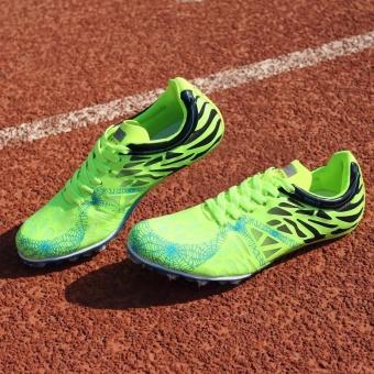 Sunshine Track Sports Running Shoes Spike Spikes Athletics Training Shoes Lelaki Berjalan Kasut - Green - intl - 3