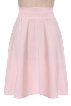 Sunweb High Waist Ladies Women A-Line Pleated Midi Skirt (Pink)