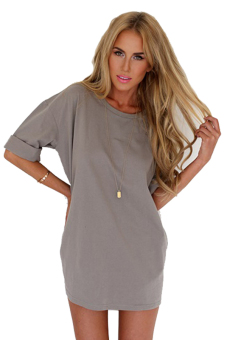 Sunweb Short Sleeve Women Loose Shift Dress ( Grey )