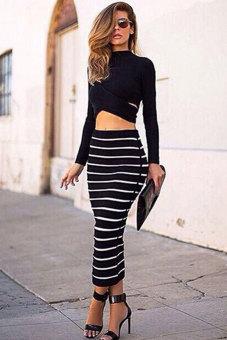 Sunweb Striped Bodycon Dress Crop Top + Long Skirt Set (Black)