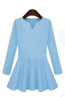 Sunweb Women Slim Long Sleeve Casual Dress for Autumn Winter Blue - Intl