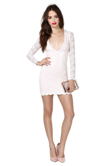Sunweb Women Slim Long Sleeve Deep V-neck Lace Dress ( White ) - picture 2