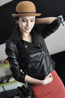 Sunwonder Women Motorcycle Leather Jackets Short Outerwear Coat (Black) - 5