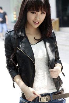 Sunwonder Women Motorcycle Leather Jackets Short Outerwear Coat (Black) - 2