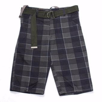 Super-11 Men's Four Pocket Cargo Checkered Short with Belt 798(Black) - 2