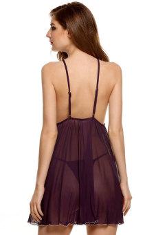 Supercart Avidlove Stylish Lady Women Nightwear Sleepwear Lingerie Set Strap See through Mini Night Dress with G-string (Purple) - 5