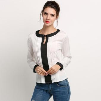 SuperCart Women Chiffon Shirt Long Sleeve O-neck Shirt Blouse Tops(White) - Intl