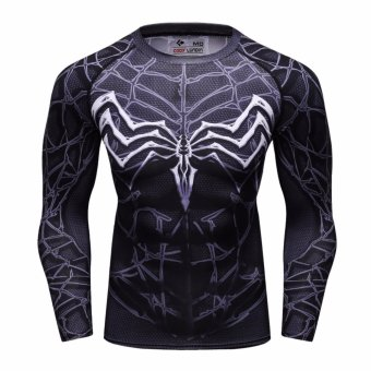 Superhero Spiderman Men Compression Long Shirt Top For SportFashion Evil BK - intl