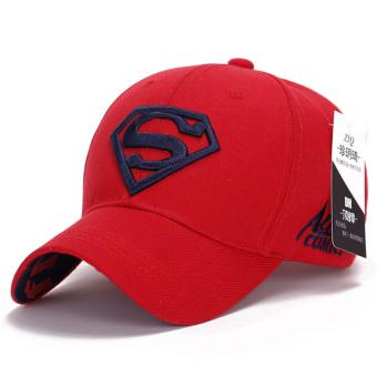 Superman Baseball Cap Hats for Men Women Adjustable S Logo LetterCasual Outdoor Snapback Hat(dark blue&red)